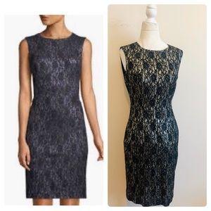Tahari metallic floral lace sheath dress!